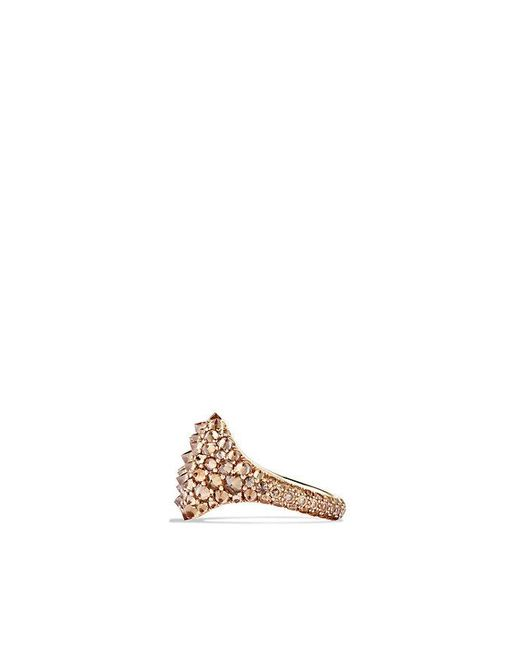 David Yurman | Brown Dy Signature Pinky Ring With Cognac Diamonds In 18k Rose Gold | Lyst