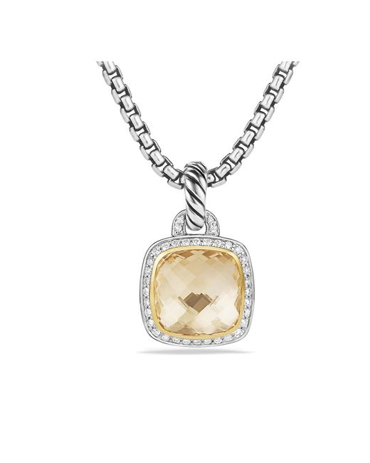 David Yurman - Metallic Albion® Pendant With Champagne Citrine, Diamonds And 18k Gold, 17mm - Lyst