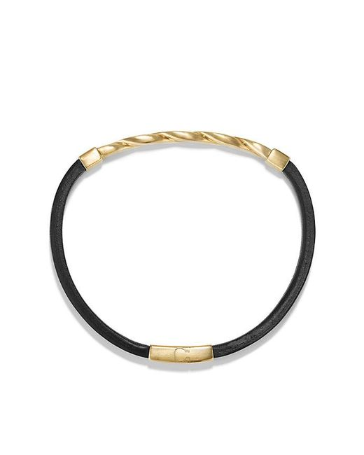 David Yurman | Cable Classics Leather Id Bracelet With 18k Gold In Black | Lyst