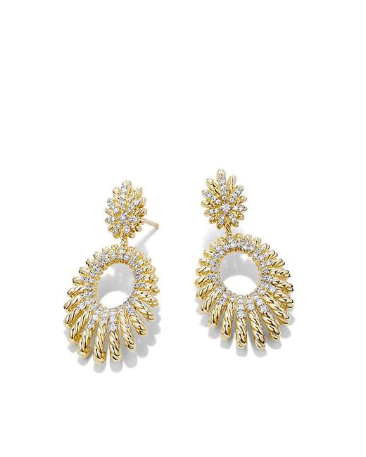 David Yurman - Metallic Tempo Double Drop Earrings With Diamonds In 18k Gold - Lyst