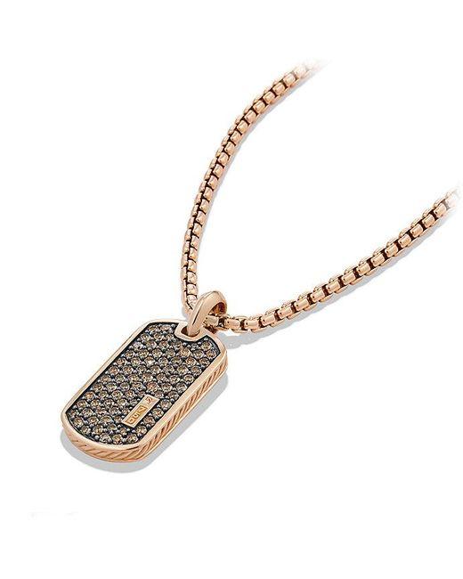 David Yurman | Pink Pavé Tag With Cognac Diamonds In 18k Rose Gold | Lyst