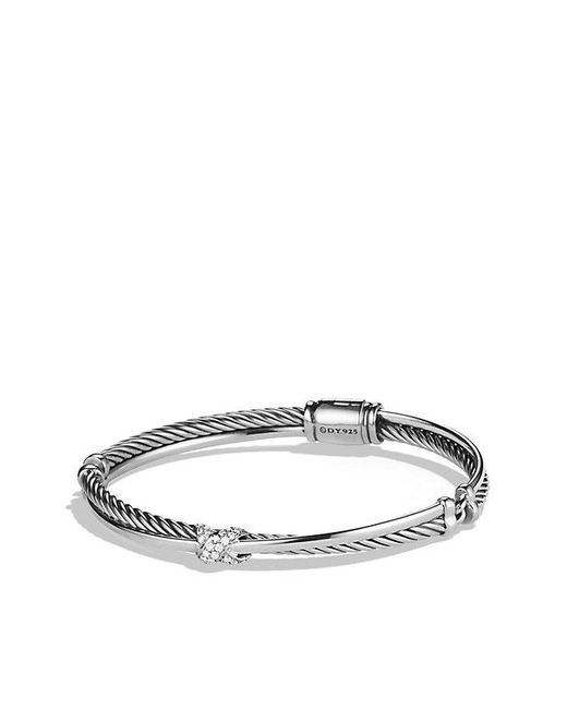 David Yurman | Metallic X Crossover Bracelet With Diamonds, 3mm | Lyst