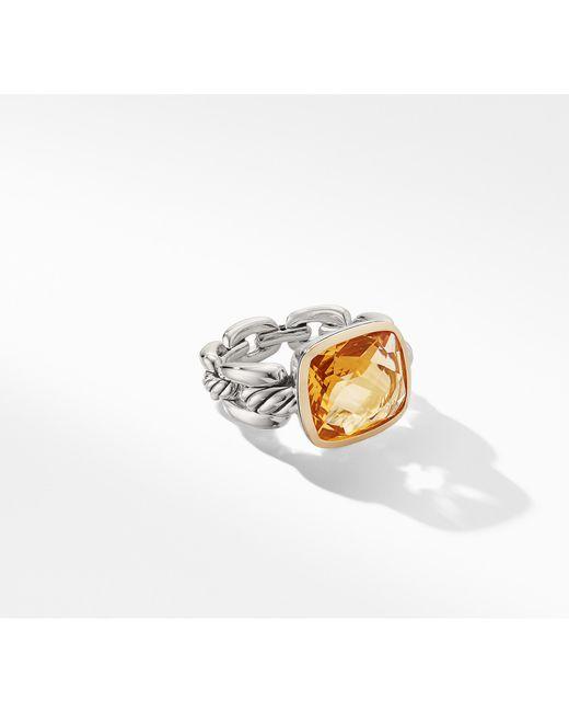 David Yurman - Metallic Wellesley Linktm Statement Ring With 18k Gold And Citrine - Lyst
