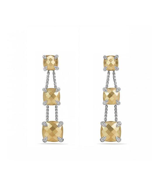 David Yurman - Metallic Chatelaine® Linear Chain Earrings With 18k Gold And Diamonds - Lyst