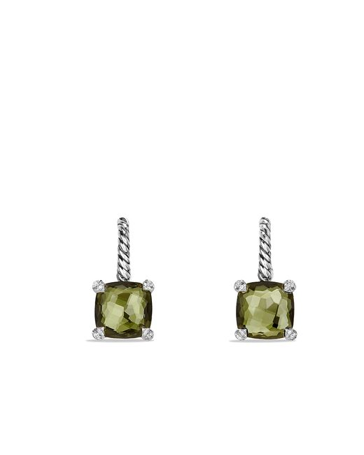 David Yurman - Châtelaine® Drop Earrings With Green Orchid And Diamonds - Lyst