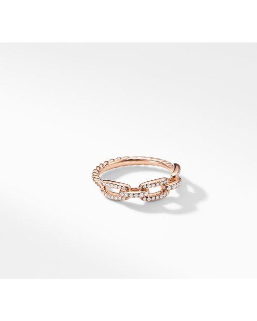 David Yurman - Metallic Stax Single Row Pave Chain Link Ring With Diamonds In 18k Rose Gold, 4.5mm - Lyst