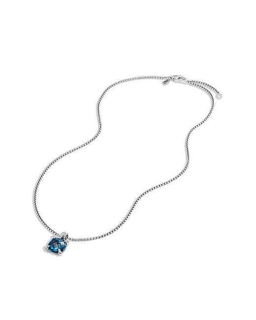 David Yurman | Châtelaine Pendant Necklace With Hampton Blue Topaz And Diamonds, 11mm | Lyst