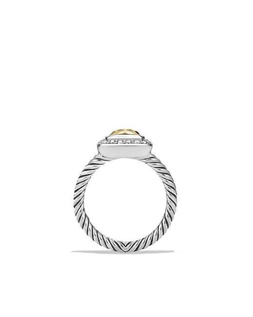 David Yurman - Metallic Petite Albion® Ring With Diamonds And 18k Gold Dome - Lyst