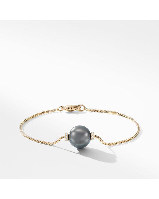 David Yurman - Gray Solari Single Station Bracelet In 18k Gold With Diamonds And Tahitian Grey Pearl - Lyst