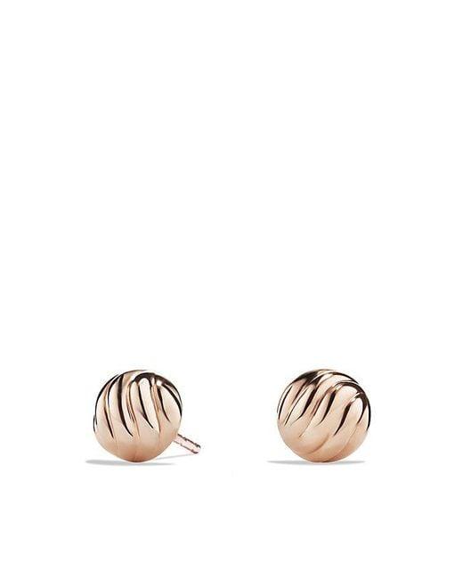 David Yurman - Metallic Sculpted Cable Stud Earring In 18k Rose Gold - Lyst