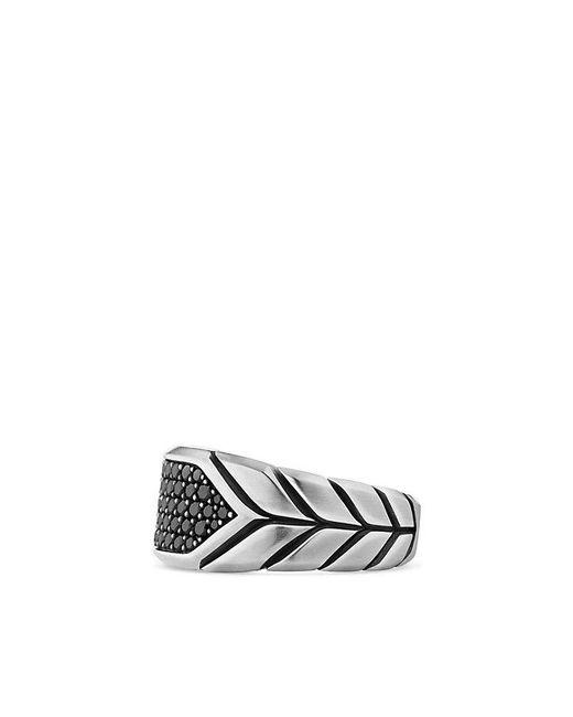 David Yurman | Chevron Signet Ring With Black Diamonds for Men | Lyst