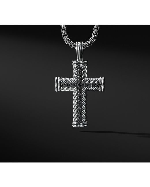 David Yurman - Chevron Cross With Black Diamonds for Men - Lyst