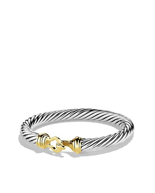 David Yurman | Metallic Cable Classic Buckle Bracelet With 14k Gold, 7mm | Lyst