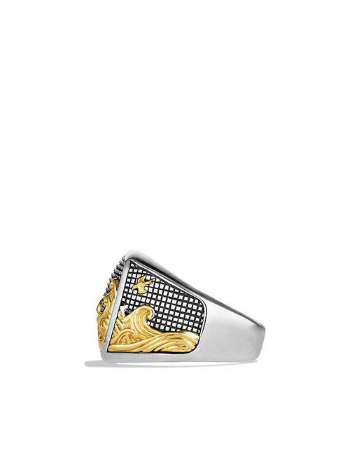 David Yurman - Metallic Waves Signet Ring With 18k Gold - Lyst