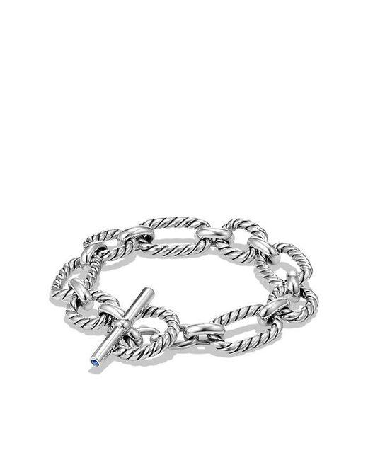 David Yurman   Metallic Cushion Link Bracelet With Blue Sapphires   Lyst