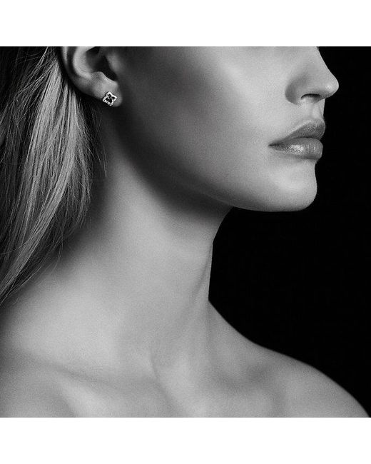 David Yurman | Venetian Quatrefoil® Earrings With Blue Sapphires And Diamonds In 18k Gold | Lyst