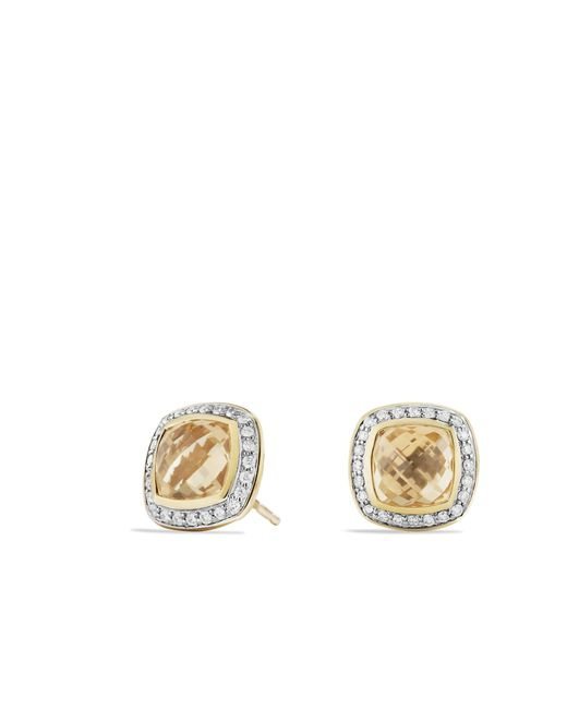 David Yurman - Metallic Albion® Earrings With Champagne Citrine And Diamonds In 18k Gold, 7mm - Lyst