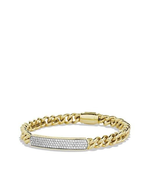 David Yurman - Metallic Petite Pavé Id Bracelet With Diamonds In 18k Gold - Lyst
