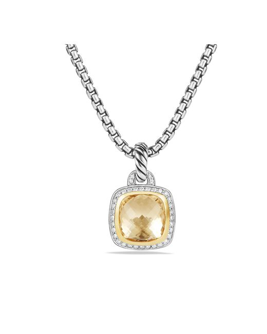 David Yurman - Metallic Albion® Pendant With Champagne Citrine, Diamonds And 18k Gold, 14mm - Lyst