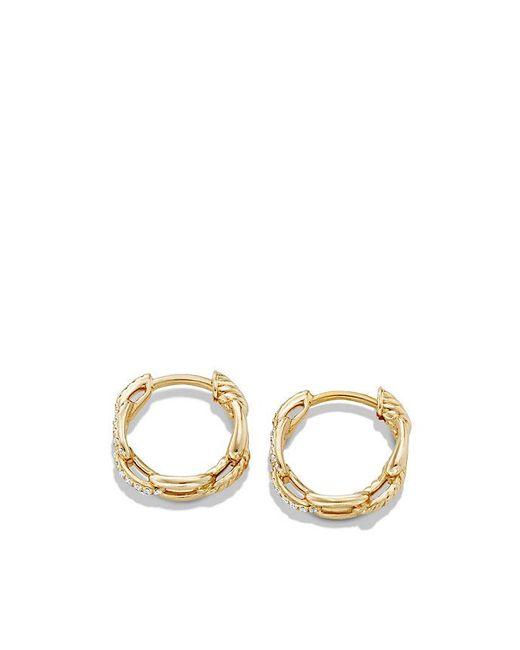 David Yurman | Metallic Stax Chain Link Huggie Hoop Earrings With Diamonds In 18k Gold | Lyst