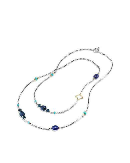David Yurman | Metallic Bijoux Bead Necklace With Lapis Lazuli, Dumortierite, Hampton Blue Topaz And 18k Gold | Lyst