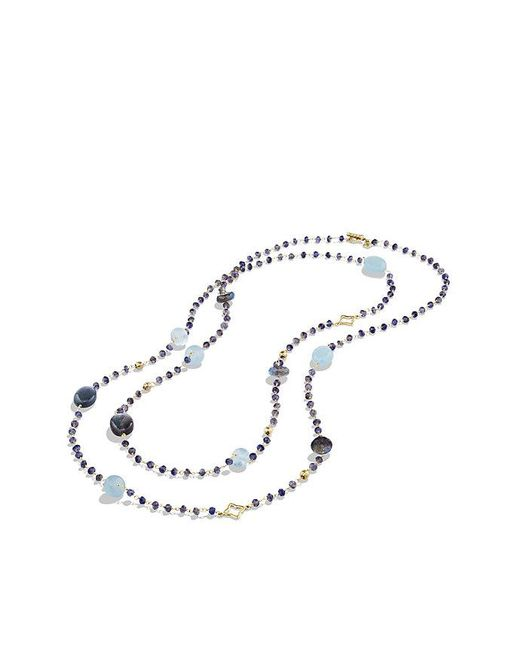 David Yurman - Yellow Bijoux Bead Necklace With Labradorite And Milky Aquamarine In 18k Gold - Lyst