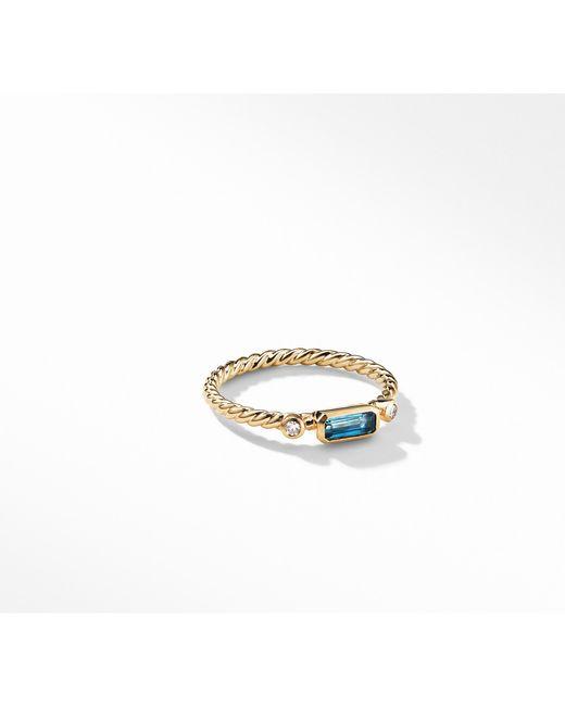 David Yurman - Novella Ring In Hampton Blue Topaz With Diamonds - Lyst