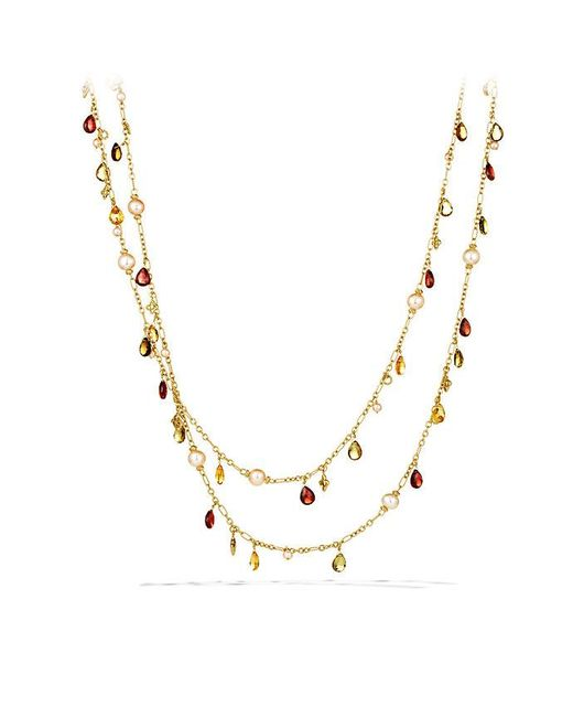 David Yurman - Yellow Bijoux Bead Necklace With Peach Pearls And Garnet In 18k Gold - Lyst
