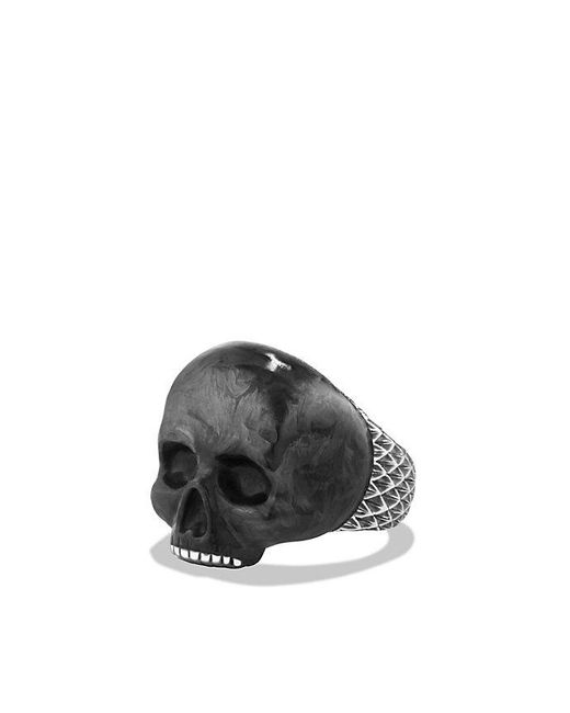 David Yurman | Metallic Carved Skull Ring With Forged Carbon for Men | Lyst