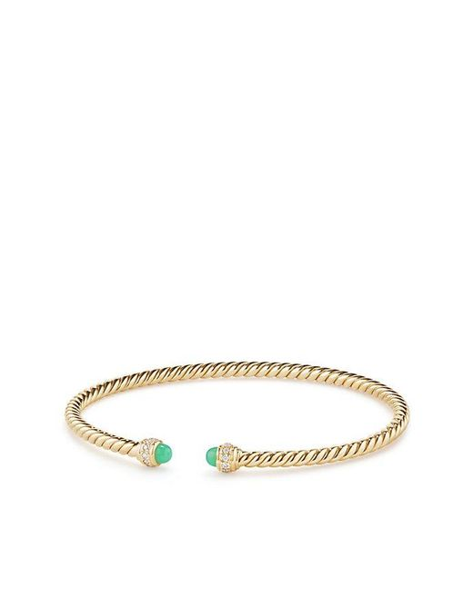 David Yurman 18kt yellow gold Cable Spira turquoise cuff bracelet - Metallic idEdid