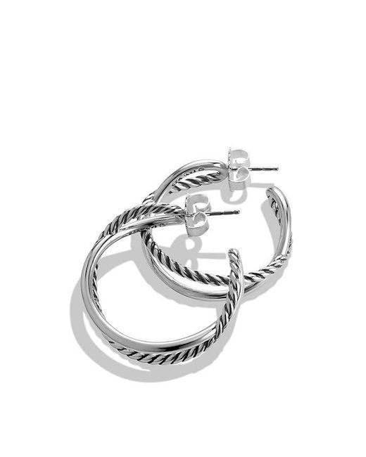 David Yurman | Metallic Crossover Hoop Earrings | Lyst