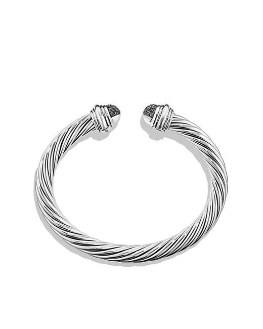 David Yurman - Metallic Cable Classic Bracelet With Black Diamonds, 7mm - Lyst