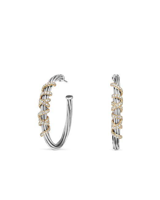 David Yurman - Metallic Helena Large Hoop Earrings With Diamonds And 18k Gold - Lyst