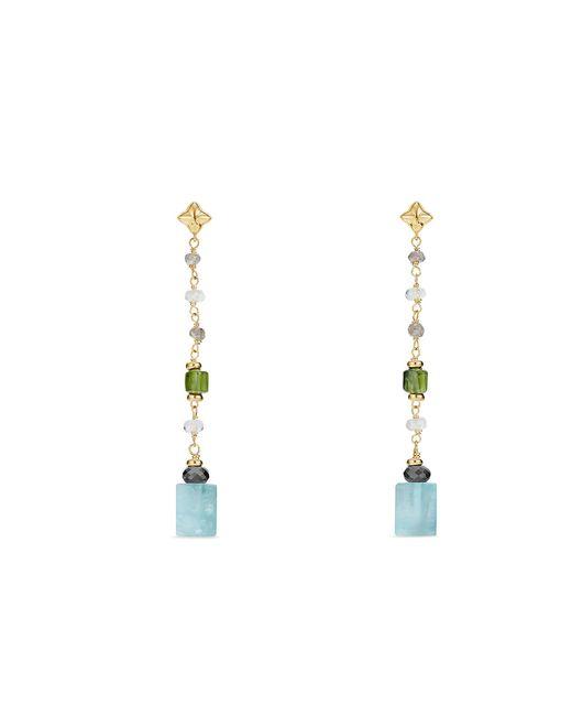 David Yurman - Metallic Bead And Chain Earrings With Aquamarine, Turquoise And Hematine In 18k Gold - Lyst