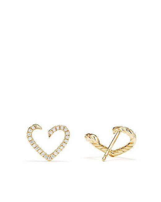 David Yurman - Metallic Heart Wrap Earrings With Diamonds In 18k Gold - Lyst