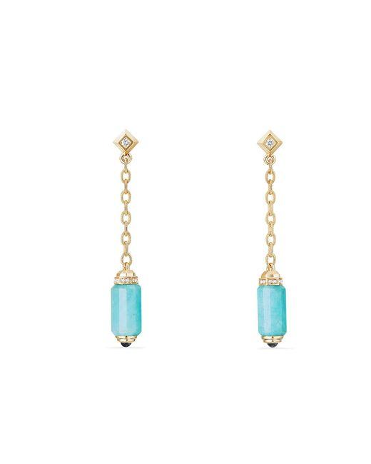 David Yurman - Blue Cabochon Black Onyx, Rubies, Pavé Diamonds & 18k Yellow Gold Drop Earrings - Lyst