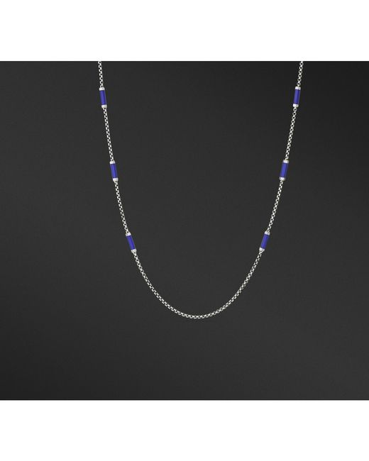David Yurman - Hex Station Chain Necklace With Blue Rubber for Men - Lyst