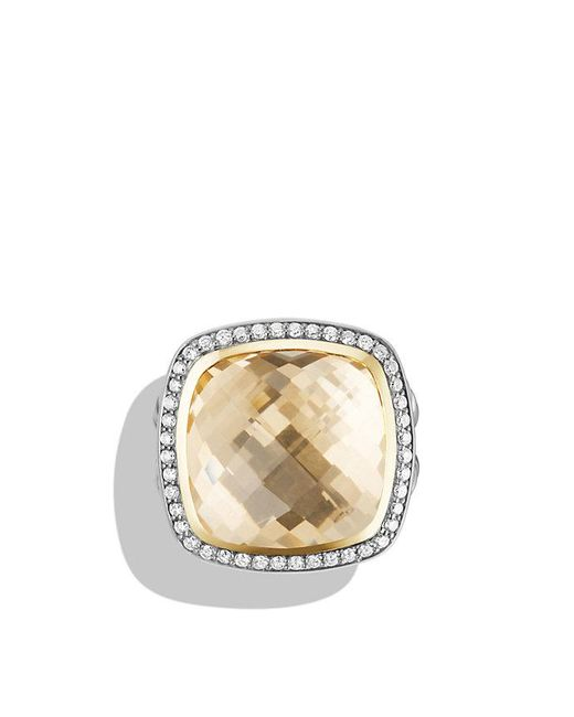 David Yurman | Metallic Albion® Ring With Champagne Citrine And Diamonds With 18k Gold, 17mm | Lyst