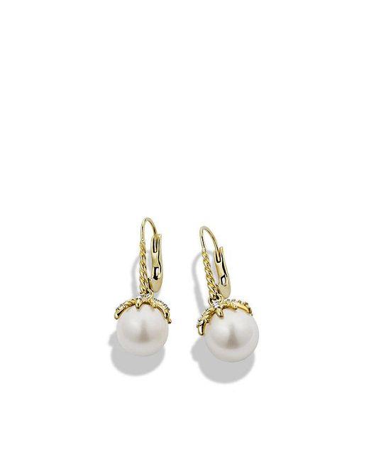 David Yurman | Metallic Starburst Drop Earrings With Pearls And Diamonds In 18k Gold | Lyst