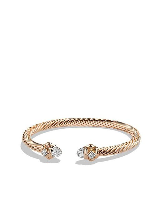 David Yurman | Pink Renaissance Bracelet With Diamonds In 18k Rose Gold, 5mm | Lyst