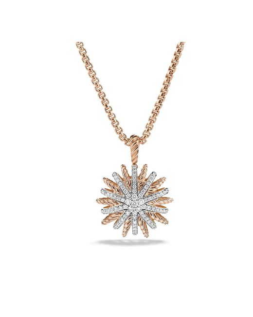 David Yurman - Metallic Starburst Small Pendant Necklace With Diamonds In 18k Rose Gold, 18mm - Lyst