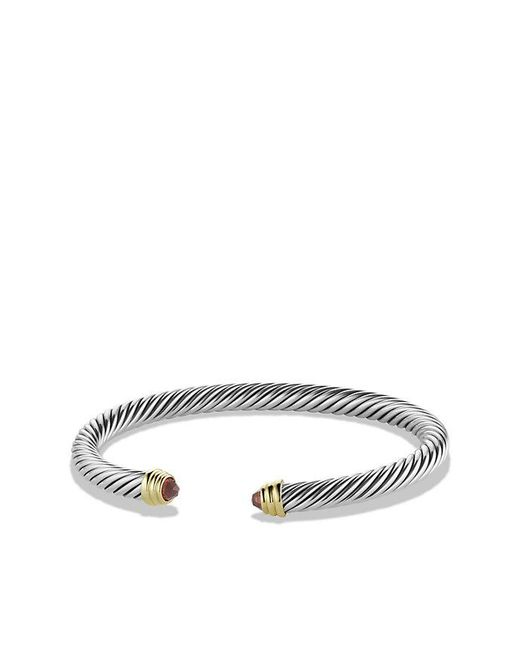 David Yurman | Metallic Cable Classics® Bracelet With Garnet With 14k Gold, 5mm | Lyst