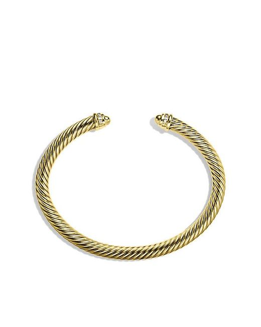 David Yurman | Metallic Cable Classics Bracelet With Diamonds In 18k Gold, 5mm | Lyst