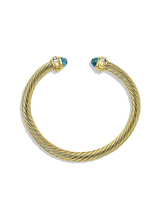 David Yurman | Cable Classics Bracelet With Blue Topaz And Diamonds In 18k Gold, 5mm | Lyst