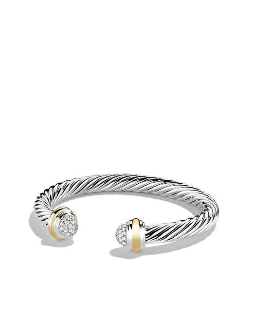 David Yurman | Metallic Cable Classics Bracelet With Diamonds And 18k Gold, 7mm | Lyst