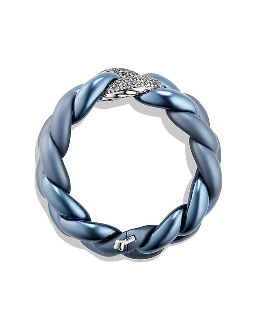 David Yurman | Blue Belmont Curb Link Bracelet With Gray Diamonds In Titanium With An Accent Of 18k White Gold | Lyst