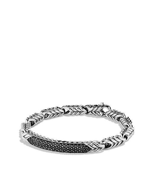 David Yurman | Chevron Id Bracelet With Black Diamonds for Men | Lyst