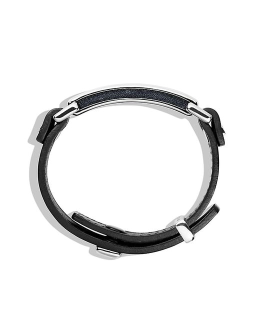 David Yurman | Pavé Id Bracelet With Black Diamonds In Black Leather for Men | Lyst