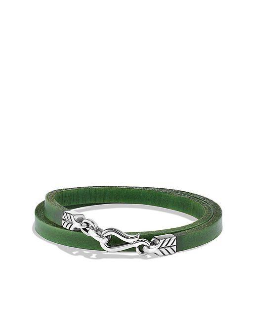 David Yurman   Chevron Double Wrap Leather Bracelet In Green for Men   Lyst
