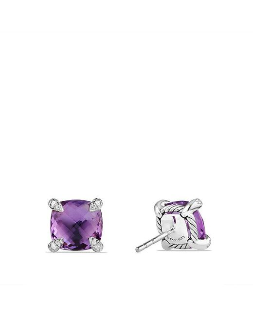 David Yurman | Purple Châtelaine® Earrings With Amethyst And Diamonds, 9mm | Lyst